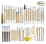#5: Ceramic Clay Tools, 45PCS Pottery Sculpting Tools Set for Beginners Professional Art Crafts, Wood and Steel, Schools and Home Safe for Kids, by Augernis