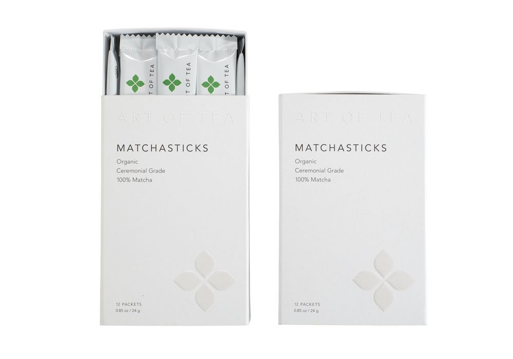 Matcha Powder Organic Japanese Ceremonial matchasticks - Art of Tea - 24 count single serve packets.
