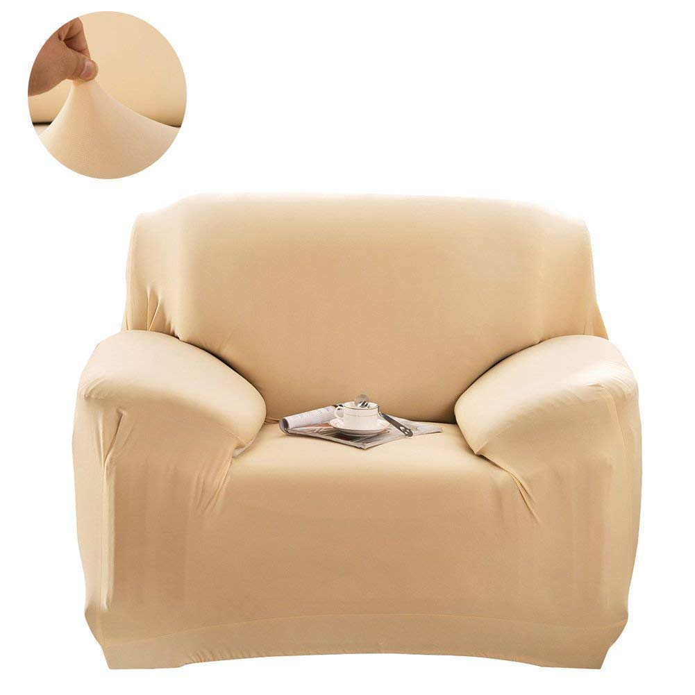 Waligastore Polyester Stretch Slipcover Chair Loveseat Sofa Available for 1 2 3 4 Four People, Without Pillowcase (Beige, Chair)