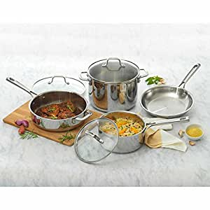 Emeril Lagasee 7-Piece Stainless Steel Tri-Ply Cookware Set Includes Fry Pan, Saucepan, Sauté Pan and Stock Pot with Tempered Glass Lids