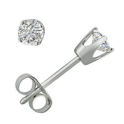 2dc89a38f Amazon.com: IGI Certified 1/3ct tw Round Diamond Stud Earrings in 14K White  Gold: Jewelry