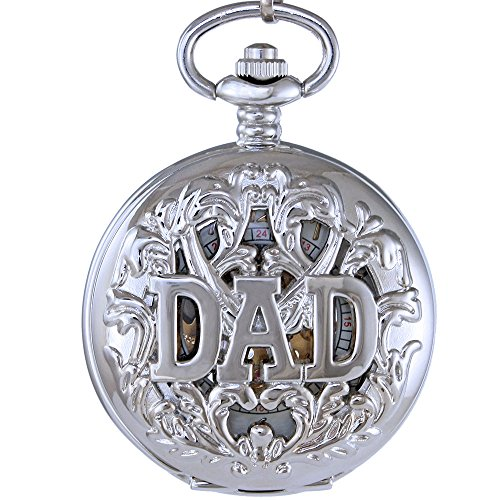 OGLE Mens Women Child Dad Fathers Day Chain Black White Skeleton Mechanical Fob Pocket Watch Box (Black)