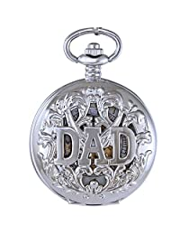 OGLE Mens Women Child Dad Father Pendant Necklace Chain Black Skeleton Mechanical Fob Pocket Watch Box