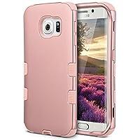 """Funda ULAK Galaxy S6 Edge, 3 en 1 Shield Funda absorbente de golpes con cubierta híbrida Silicona suave + Diseño de material duro para PC para Samsung Galaxy S6 Edge (5.1 """"pulgadas) Lanzamiento 2015 Oro rosa"""