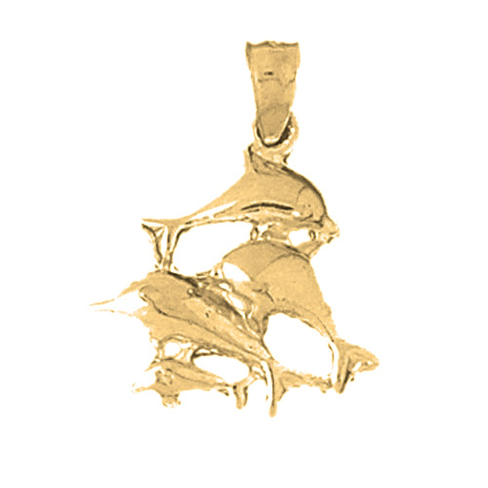 14K Yellow Gold-plated 925 Silver Dolphin Pendant with 16 Necklace Jewels Obsession Dolphin Necklace