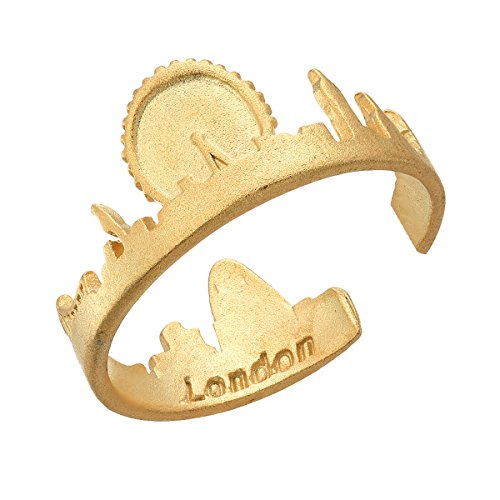 London Skyline City Ring - 925 Sterling Silver Plated With 18K Matte...