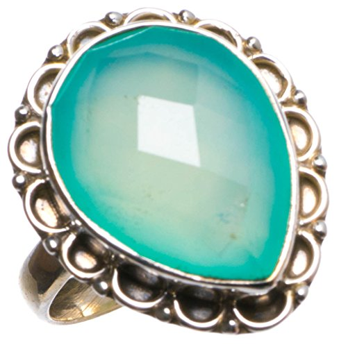 StarGems(tm) Natural Chalcedony Handmade Unique 925 Sterling Silver Ring, US size 6.75 X2293 (Stone Ladies Tm Italian)