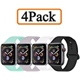 YANCH Compatible with for Apple Watch Band 38mm 40mm, Soft Silicone Sport Band Replacement Wrist Strap Compatible with for iWatch Series 4/3/2/1, Nike+,Sport,Edition,S/M,Size,4 Pack