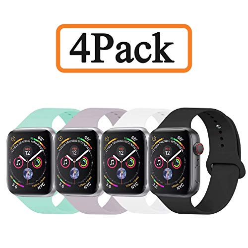 YANCH Compatible with for Apple Watch Band 38mm 40mm, Soft Silicone Sport Band Replacement Wrist Strap Compatible with for iWatch Series 4/3/2/1, Nike+,Sport,Edition,M/L,Size,4 Pack