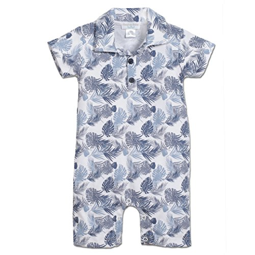 Blue Collared Romper - Feather Baby Boys Clothes Pima Cotton Collared Short Sleeve Polo Shortie Romper, 3-6 Months, Botanic-Blue on White
