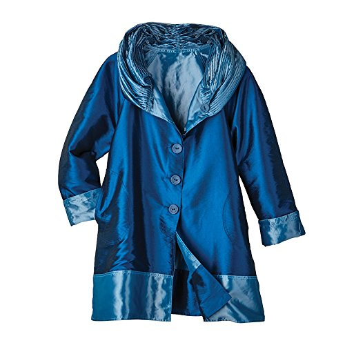 Iridescent Reversible Coat (Women's Reversible Rain Jacket - Iridescent Fabric With Hood - Navy - Large)