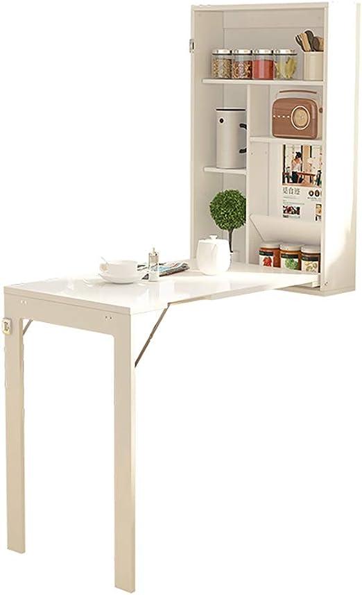 Mesa blanca montada en la pared, mesa de gabinete de ...