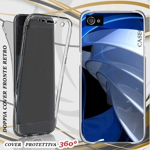 CUSTODIA COVER CASE EFFETTO BLU PER IPHONE 5 FRONT BACK