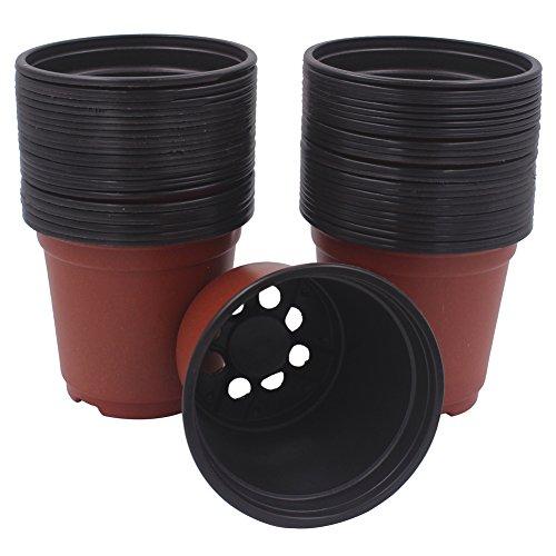 Zicome Plastic Seedlings Starter Nursery Pots for Starting Seeds Transplanting Plants, 4-Inch (50 Pack) Plastic Nursery