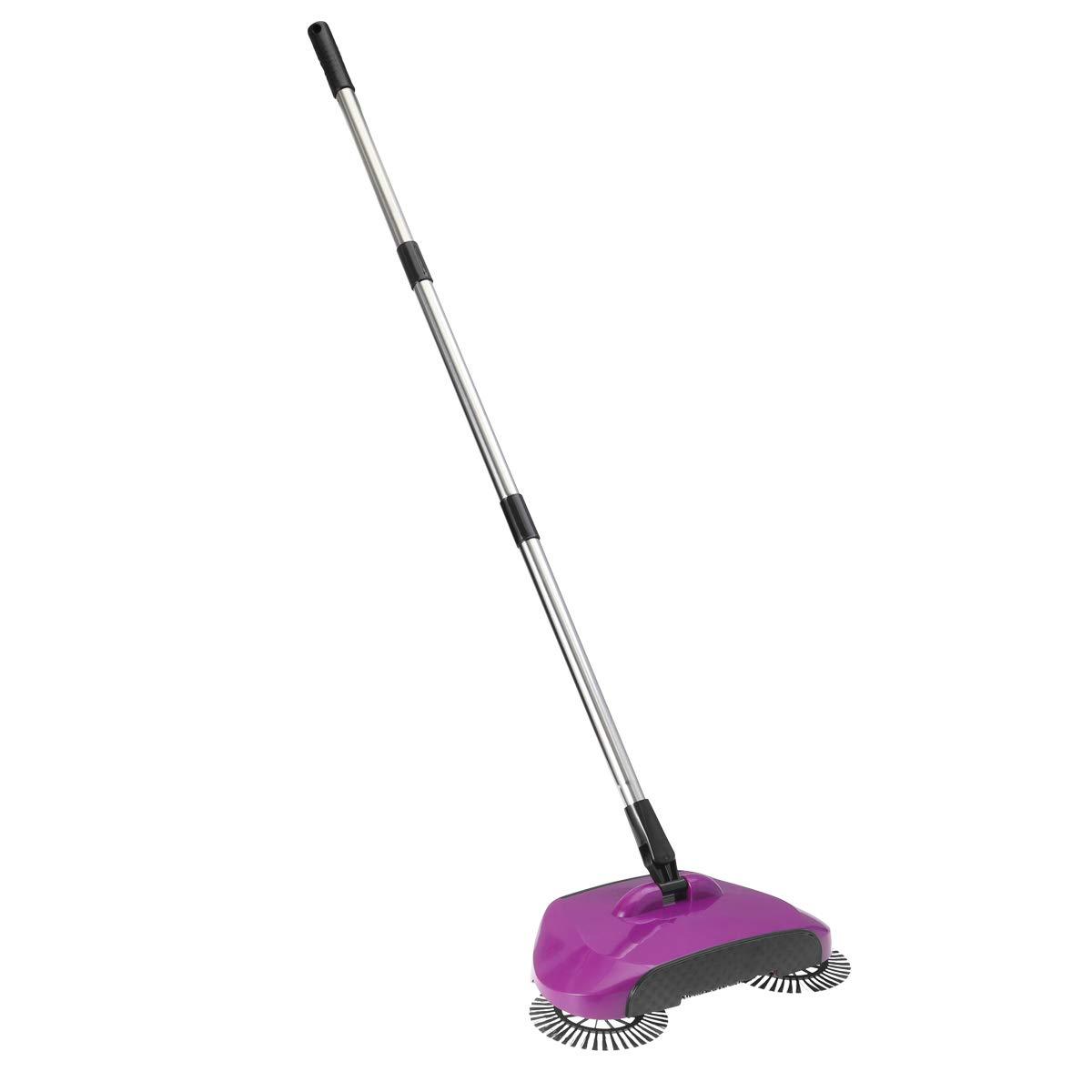 BESTOMZ Sweeper - Floor Sweeper Hand Push Broom Dustpan Trash Bin 360° Rotating Floor Cleaning Tool (Purple)