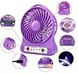 GKP Products ® 3 Speeds Electric Portable Mini fan Rechargeable Desktop Fan Battery and USB Charge Cable