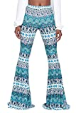 Tall Womens Autumn Street Style Classy Paisley Patterns Bells Pants XL Turquoise