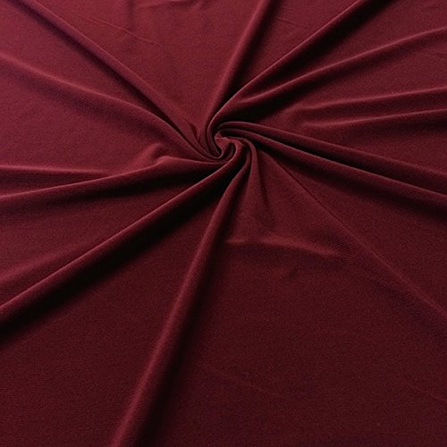 Burgundy Polyester Fabric (ITY Fabric Polyester Lycra Knit Jersey 2 Way Spandex Stretch 58