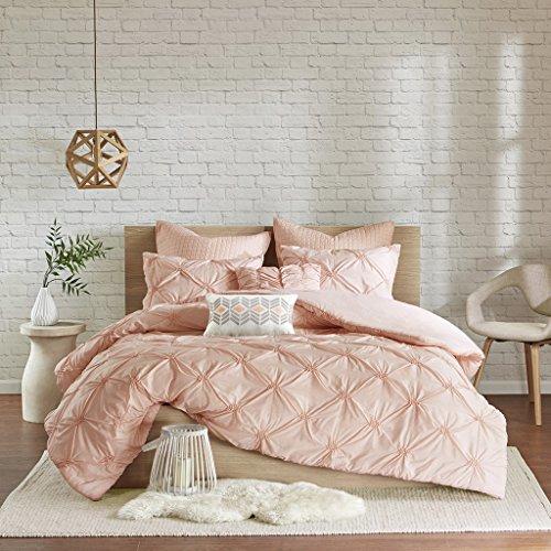 Urban Habitat Talia Teen Girls Duvet Cover Set Full/Queen Size - Blush Pink, Pintuck – 7 Piece Duvet Covers Bedding Sets – Ultra Soft Microfiber Girls Bedding Bed Sets