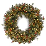 National Tree 36 Inch Wintry Pine Wreath with Cones, Red Berries, Snowflakes and 150 Clear Lights (WP1-300-36W)