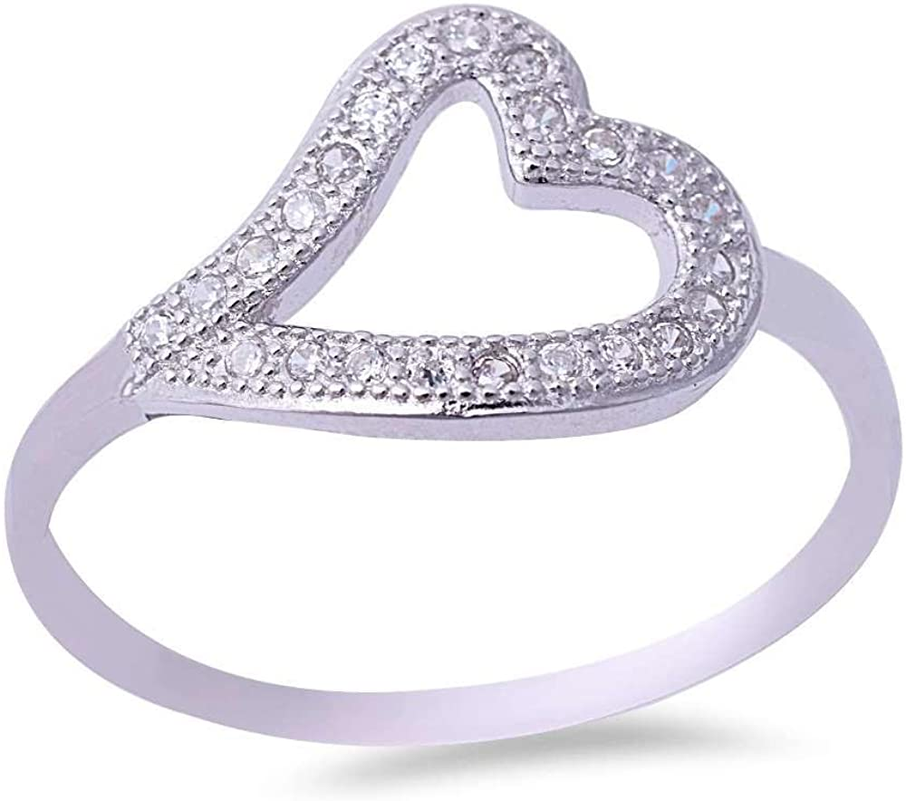 Princess Kylie Micro Pave Set Clear Cubic Zirconia Wavy Open Heart Ring Sterling Silver Size 6