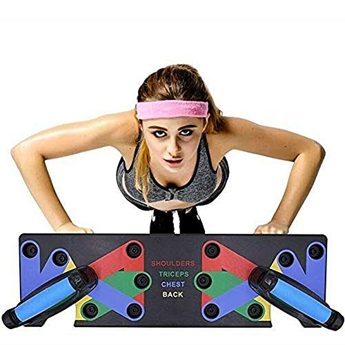 SeaHome Push Up Board - 9 in 1 Complete Push Up Training System Color-Coded Push-up Bracket Board Portable for Home Fitness Training (9-in-1)