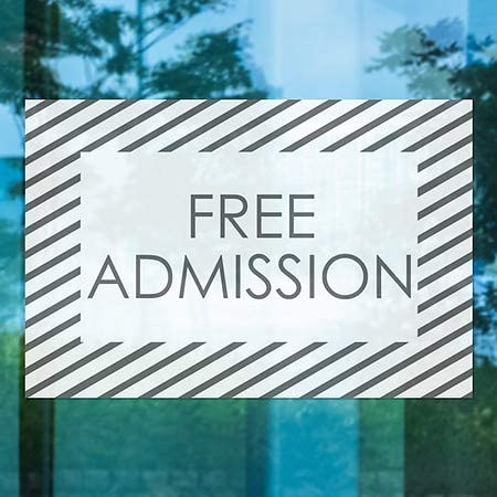 5-Pack Free Admission 27x18 Stripes White Window Cling CGSignLab