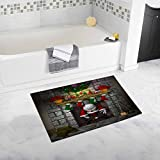 InterestPrint Cartoon Depicting Santa Claus Stuck in A Fireplace Bath Mat and Shower Rug Non Slip, 32 L X 20 W Inches