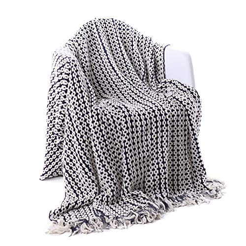 Battilo Navy and White Chain Link Knit Fashion Throw Blanket. 60