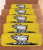 iPrint Non-Slip Carpets Stair Treads,Sketchy,Hand Drawn Doodle Style Cute Cat with a Crown on Grass Funny Graphic Design,Black White Yellow,(Set of 5) 8.6''x27.5''