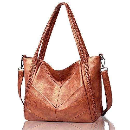 Women Vegan Leather Shoulder Bag Hobo Tote - Top-Handle Ladies Handbag and Purse