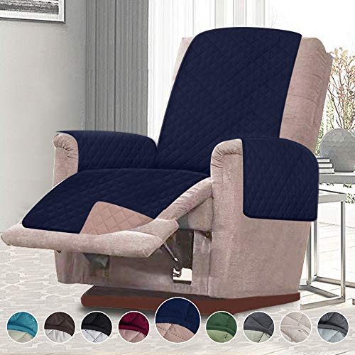 (RHF Reversible Oversized Recliner Cover&Oversized Recliner Chair Covers,Slipcovers for Recliner, Oversized Chair Covers,Pet Cover for Recliner,Machine Washable (XRecliner: Navy/Sand))