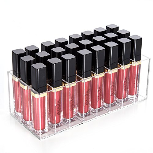 hblife Lip Gloss Holder Organizer, 24 Spaces Clear Acrylic Makeup Lipgloss Display Case (Cosmetics Lip Gloss)