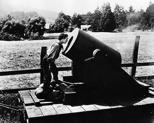 Buster Keaton 8x10 Promotional Photograph looking into cannon