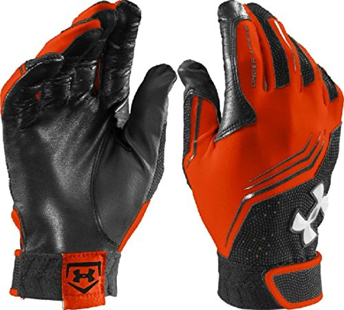 Men's Under Armour Clean Up V Batting Gloves Black/White Size Small