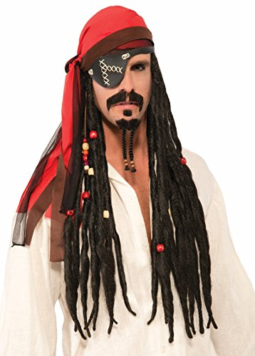 Dread Pirate Red (Forum Novelties Pirate Headscarf With Black Beaded Dreads)