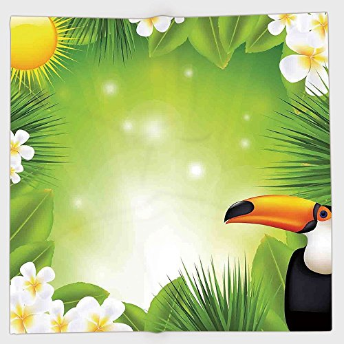 iPrint Polyester Bandana Headband Scarves Headwrap,Tropical Animals,Toucan Birds with Macro Exotic Plants with Fresh Colors Nature Design,Green Yellow,for Women Men