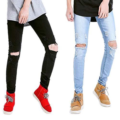 Qk Strappati Angosciati Rotti Fori Vintage Jeans A Nero Dritta Slim Con Ragazzo lannister Cher Gamba Fit rvqrwFEO