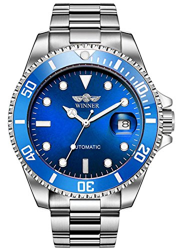 Luxury Casual Men Stainless Steel Calendar Analog Student Automatic Mechanical Business Sport Wrist Watch (Silver Blue)