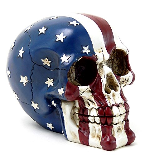 Pirate Skeleton Figurine (American Flag Skull USA Tattoo Figurine Statue Stars and Stripes)