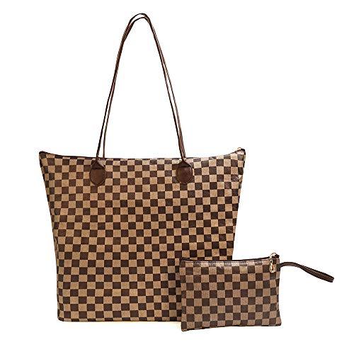 Shinefier Waterproof Light-weight Tote Shoulder Bags Tyvek Handbags for Ladies With Purses (MM, Brown)