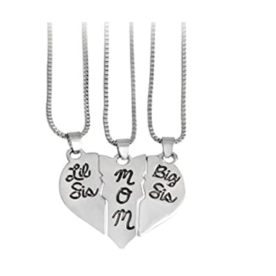 Timesuper Carved Mom Sister Little Sister Love Heart Pendant Chain Necklace Charms Silver: Arts, Crafts & Sewing