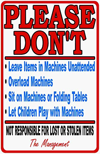 Laundromat Rules & Liability Sign. 9x12 Metal. Laundry Business Signs