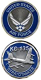 United States Military US Armed Forces Air Force KC-135 Fighter Plane - Good Luck Double Sided Collectible Challenge Pewter Coin