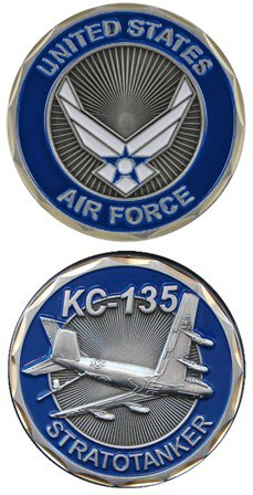 United States Military US Armed Forces Air Force KC-135 Fighter Plane - Good Luck Double Sided Collectible Challenge Pewter Coin (Pewter Plane)