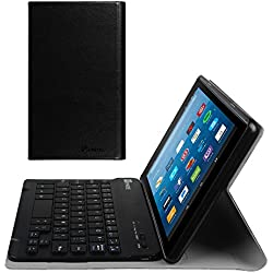 Fintie Slim Keyboard Case for All-New Amazon Fire HD 8 (7th Generation, 2017 Release), Slim Shell Lightweight Stand Cover with Magnetically Detachable Wireless Bluetooth Keyboard, Black