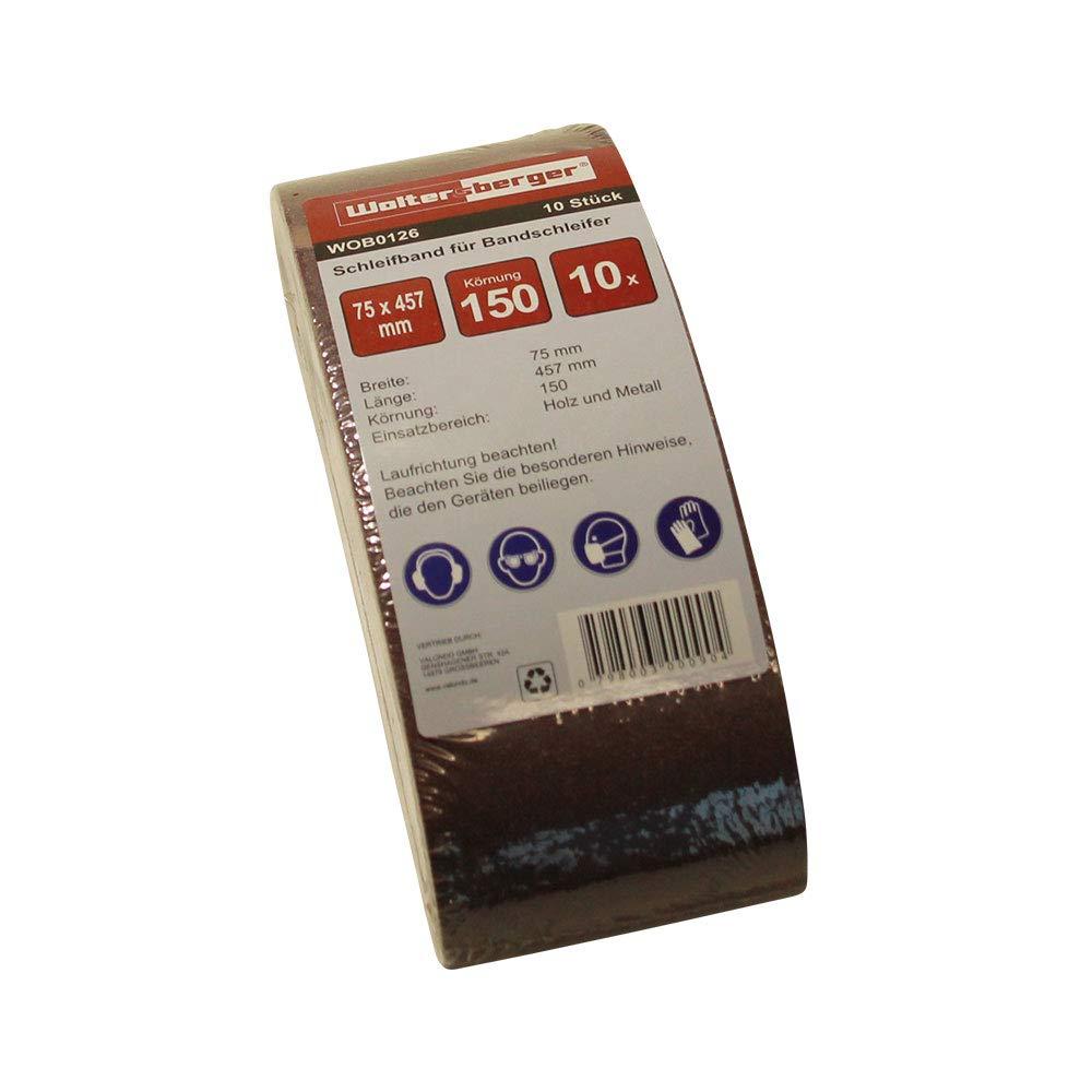10/pieza woltersberger bandas de lija grano P de 120, tama/ño 75/x 457/mm