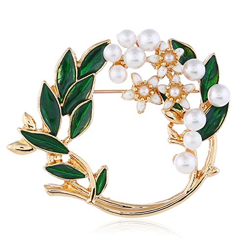 Pearl Flower Wreath Brooches for Women Men Girls Gold Tone Fashion Vintage Green Olive Leaf Hollow Garland Brooch Pins Bow Tie Necktie Dress Accessories Jewelry Birthday