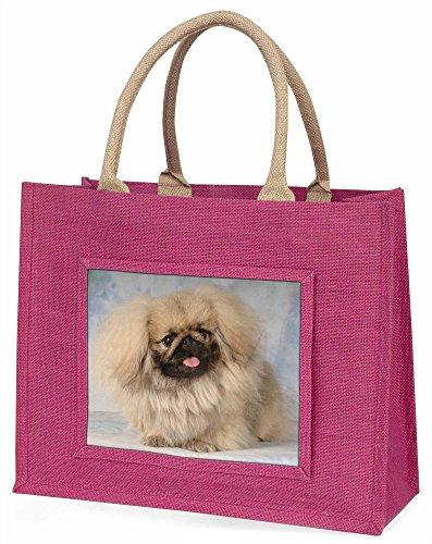 Advanta pekinses Hund Große Einkaufstasche/Weihnachtsgeschenk, Jute, pink, 42x 34,5x 2cm