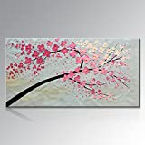 Seekland Art Hand Painted Knife Modern Canvas Wall Art Abstract Floral Oil Painting Pink Large Artwork for Wall Decor Living Room No Frame (80''W x 40''H)